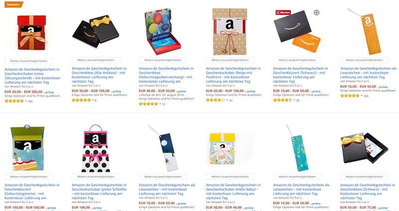Amazon Guscheine Auswahl